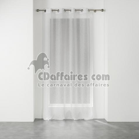 voilage a oeillets 140 x 240 cm voile tisse applique elea blanc argent cdaffaires