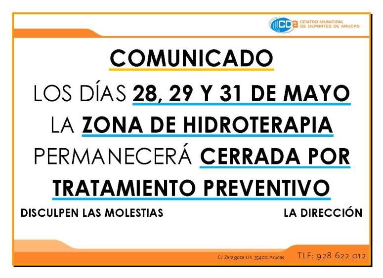 COMUNICADO Cierre hidroterapia 28 29 31MAYO 2015