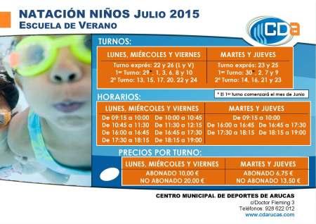 Copia de CARTEL Escuela de Verano Natacion niños cda Julio 2015