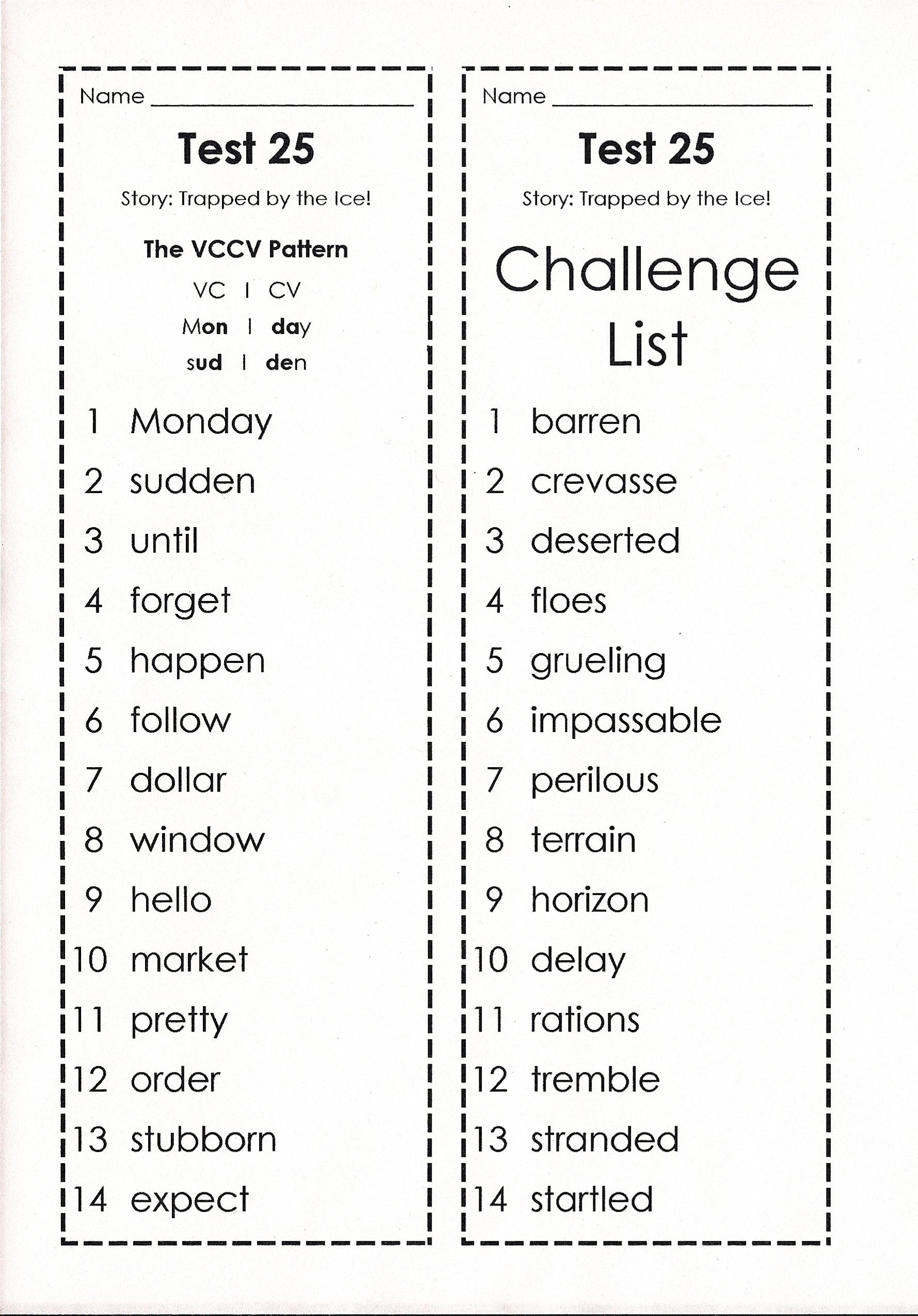 First Grade Challenge Spelling Words
