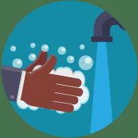 Illustratie: handen wassen