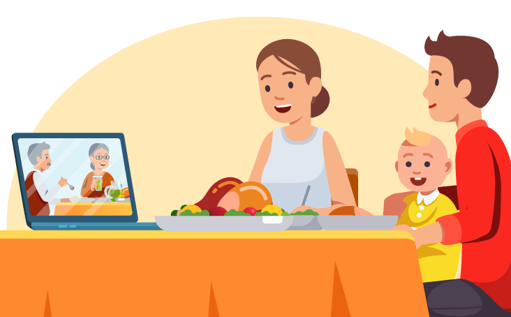 illustration of a young family enjoying a virtual meal with an older couple