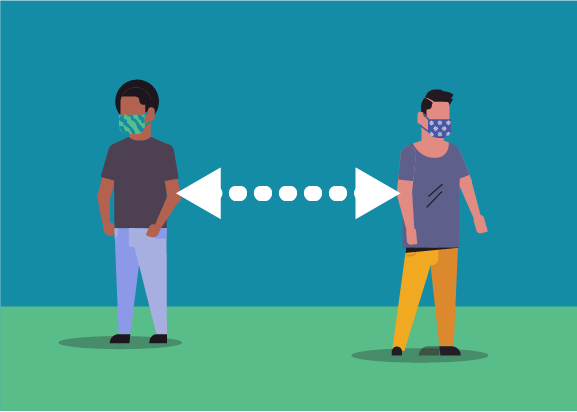 Illustration of two individuals with masks on standing 6 feet apart