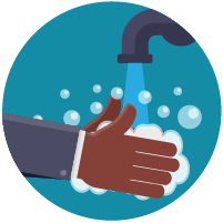 Illustration: washing hands with soap and water