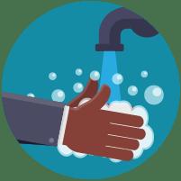 Illustratie: handen wassen met water en zeep