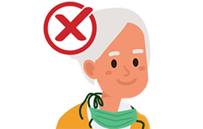 elderly woman with mask around her neck