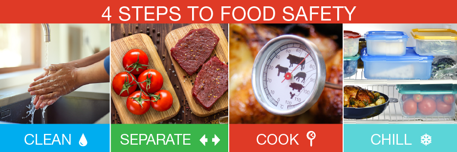 4 steps to food safety - clean, separate, cook, chill
