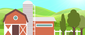 farm scene - barn and fields