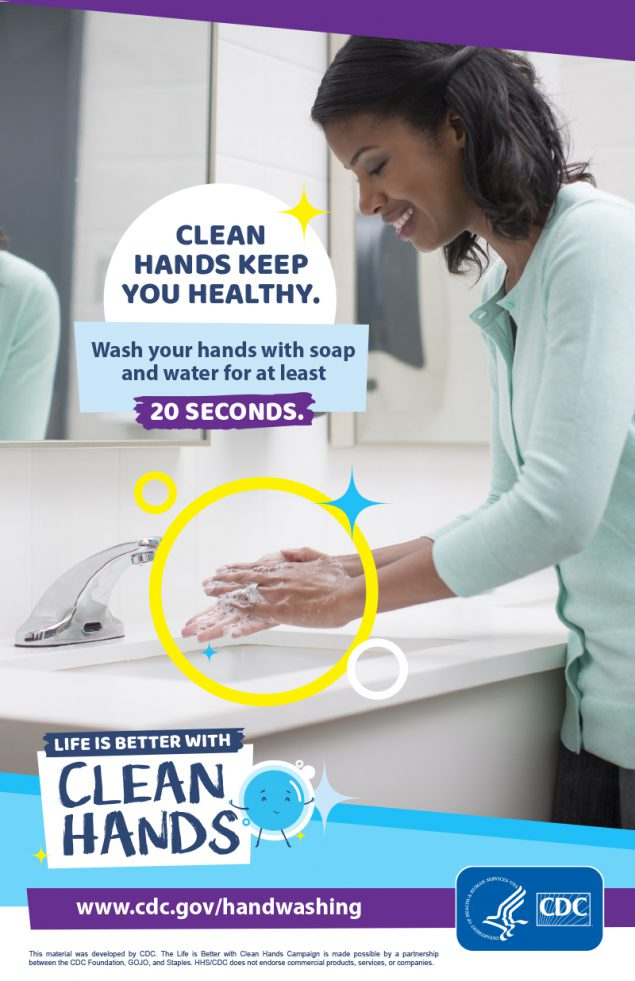 Image of a woman washing hands in a bathroom and a reminder to make handwashing a healthy habit.