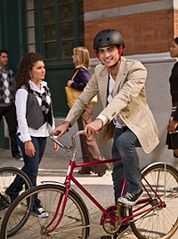 Business man commuting by bicycle