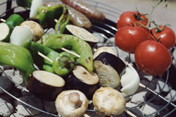photo of vegetables on a grill