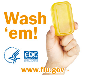 Wash your hands with soap and clean running water. Visit www.cdc.gov/h1n1 for more information.