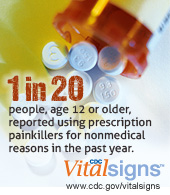 1 in 20 people, age 12 or older, reported using prescription painkillers for nonmedical reasons in the past year. CDC Vital Signs www.cdc.gov/VitalSigns/PainkillerOverdoses/