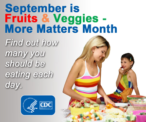 September is Fruits & Veggies- More Matters Month. Find out how many you should be eating each day.