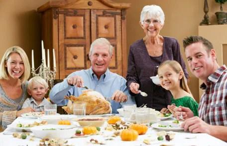 Familia multigeneración que celebra Acción de Gracias