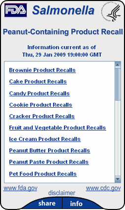 FDA Salmonella Typhimurium Outbreak 2009. Flash Player 9 is required.