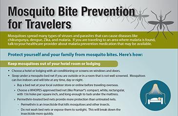 Zika Virus - Mosquito Bite Prevention for Travelers fact sheet screenshot