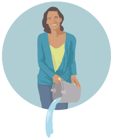 illustration of a woman pouring water from a bucket