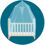 a babies crib covered by a mosquito net