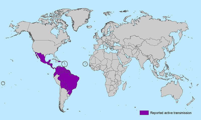 World map showing countries and territories with reported active transmission of Zika virus (as of February 1, 2016). Countries are listed in the table below.