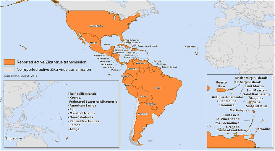 World map showing countries and territories with reported active transmission of Zika virus. Countries are listed in the table below.