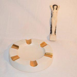 LUDE: cendrier, statuette céramique