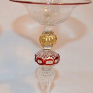 Murano: Paire de bougeoirs en verre soufflé