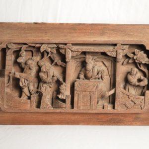 Chine: Panneau haut-relief en bois sculpté