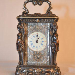 Pendulette cage miniature de voyage XIX