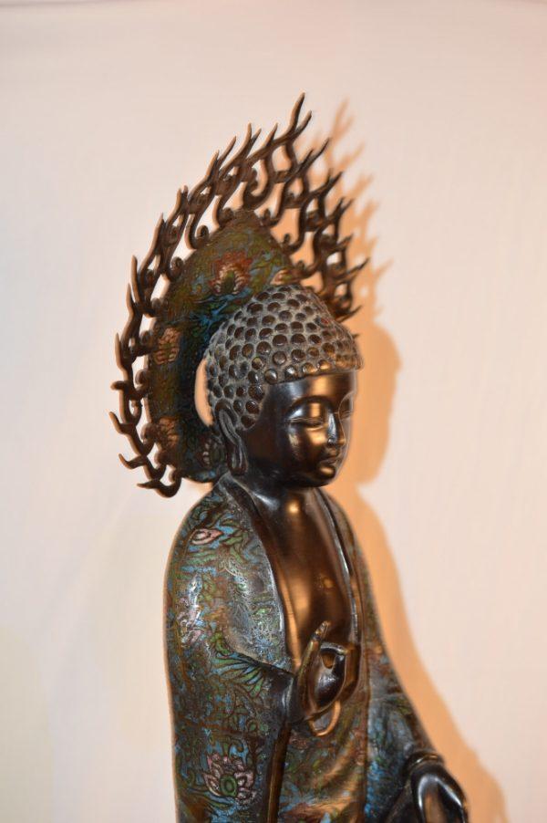 Bouddha -lotus - bronze- cloisonné . XIXe siècle