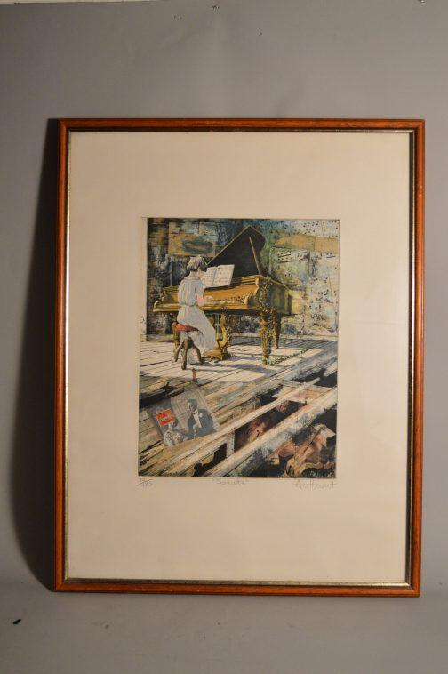 """Daniel AUTHOUART (1943): """"Sonate"""" Lithographie couleurs"""