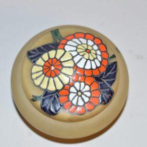 LEUNE Verrerie: Boite en verre jaune à décor floral