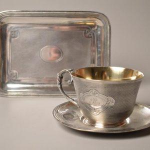 Christofle: Grande tasse à chocolat et sa sous-tasse - XIX