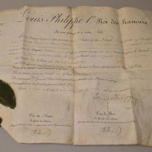 Certificat de Louis Philippe avec sceau en cire autorisant un mariage
