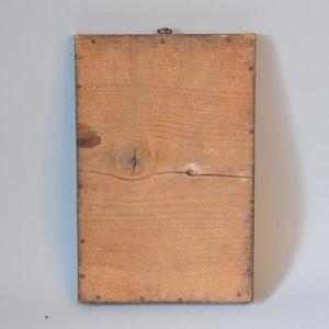 Croix religieuse XVIII dans un encadrement en chêne