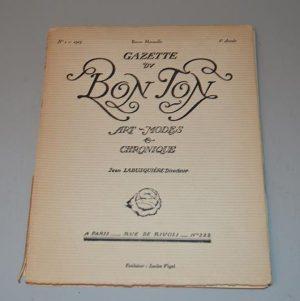 Revue mensuelle Gazette DU BON TON (N°1-1923- 6e Année)