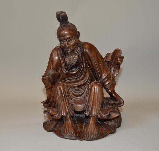 sculpture chinoise en bois exotique du 19 ème siècle