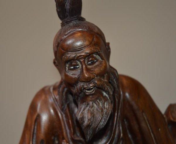 Sculpture En Bois Exotique Chine époque 19ème