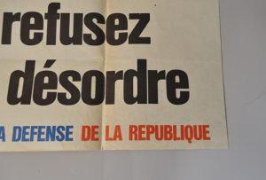 Affiche - Refusez le désordre Union pour la Défense de la République - Mai 68