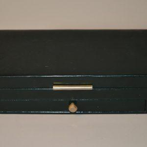 Boite à jeux de cartes en bois, gainé de cuir vert