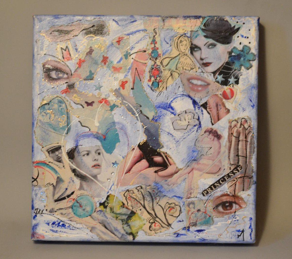 Miry HUYGHE – Tableau – Composition – peinture et collages sur Toile