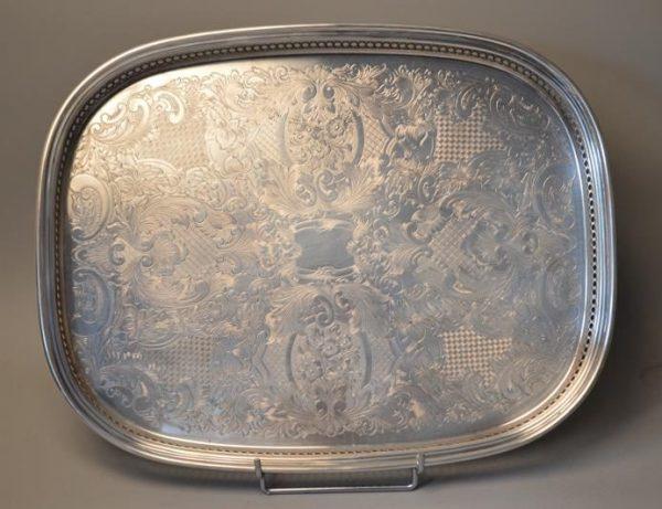 Plateau de service en métal argenté, marque Fleuron France - christofle