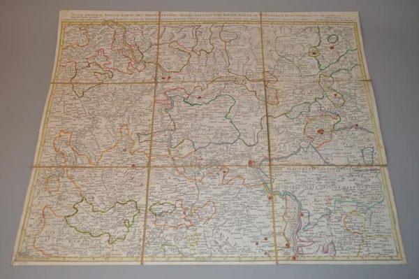 Carte militaire Allemande du détroit du Rhin entre Worms et Bonn