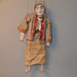 CHINE XIX siècle - Marionnette polychrome en bois articulé