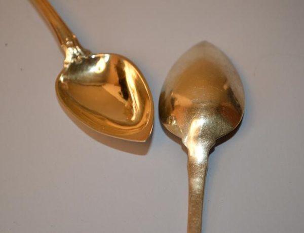 cuillères en argent vermeille - Poinçon Minerve