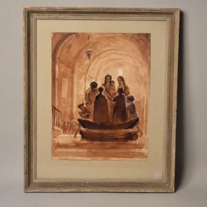 ANDRÉ-SPITZ (1884-1977) - Dessin aquarelle scène de batême - église