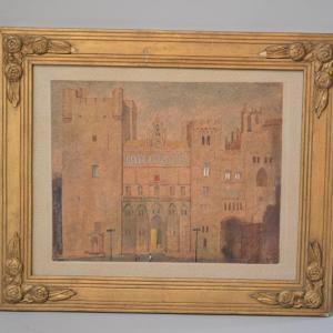 Palais des papes Avignon - Tableau aquarelle dans le gout Art Naïf