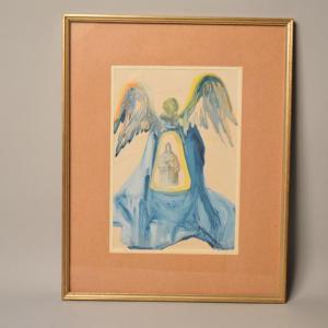Salvador Dali (1904-1989) - Divine Comédie - La rencontre de Dante - Bois gravé