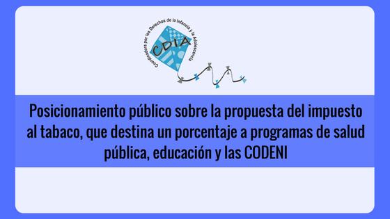 Posicionamiento público sobre la propuesta del impuesto al tabaco, que destina un porcentaje a programas de salud pública, educación y las CODENI