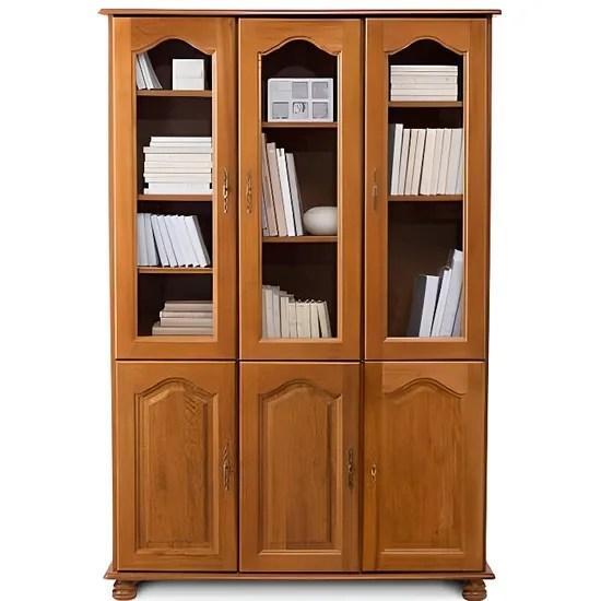 bibliotheque 3 portes vitrees 3 portes pleines